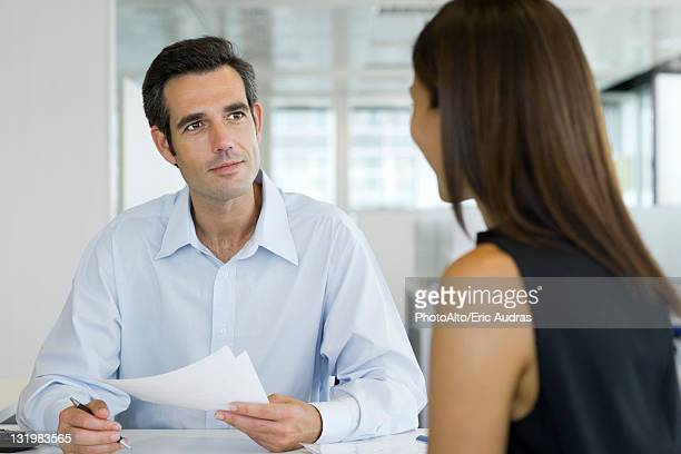 Businessman conducting job interview