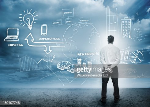 Businessman considering a brainstorm for marketing : Stock-Foto