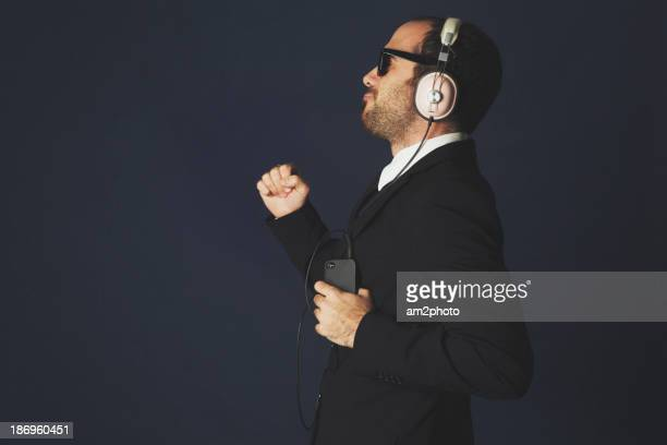 Businessman dancing in the studio