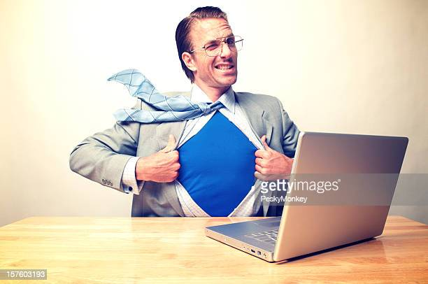Businessman Desk Superhero Office Worker Winking at the Camera