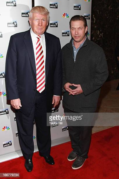 Businessman Donald Trump and actor Stephen Baldwin attend the 'AllStar Celebrity Apprentice' Red Carpet Event at Trump Tower on April 16 2013 in New...
