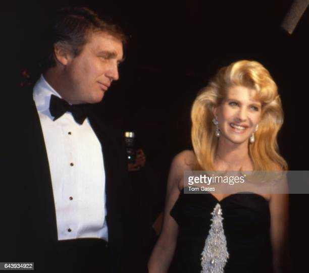Businessman Donald Trump and his wife Ivana Trump attend 8th annual 'Night of 100 Trees' to benefit the Cancer Research Institute at the Sheraton...