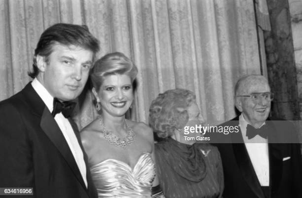 Businessman Donald Trump and his wife Ivana Trump Ruth Stafford Peale and Dr Norman Vincent Peale attend the 90th birrthday celebration of Dr Norman...