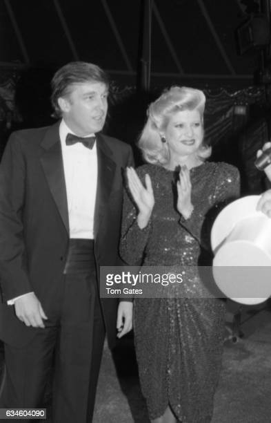 Businessman Donald Trump and his wife Ivana Trump speak to the crowd as they attend 1001 Nights at the Big Apple Circus with ringmaster Paul Binder...