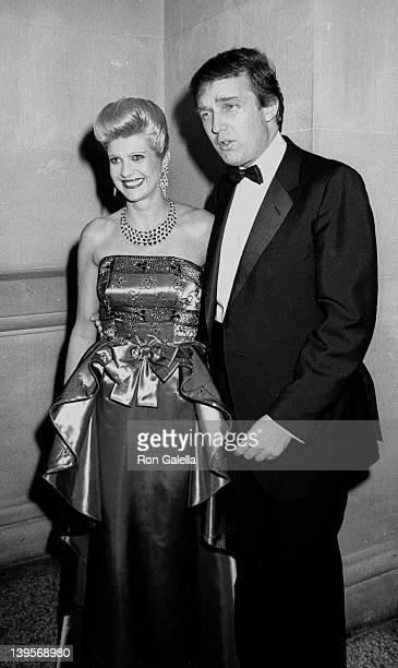Businessman Donald Trump and wife Ivana Trump attend Dinner With DV on December 7 1987 at the Metropolitan Museum of Art in New York City
