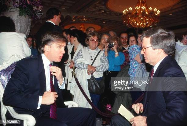 Businessman Donald Trump doing interview at the grand opening of the Taj Mahal Casino Hotel in Atlantic City New Jersey May 18 1990