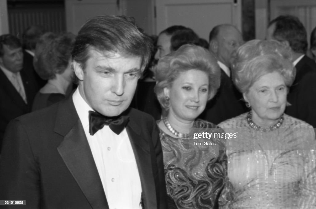 Businessman Donald Trump, his sister Maryanne Trump Barry and his mother Mary Anne MacLeod Trump attend the 90th birrthday celebration of Dr. Norman Vincent Peale author of the book 'The Power of Positive Thinking' at the Waldorf Astoria Hotel in May 1988 in New York, New York.