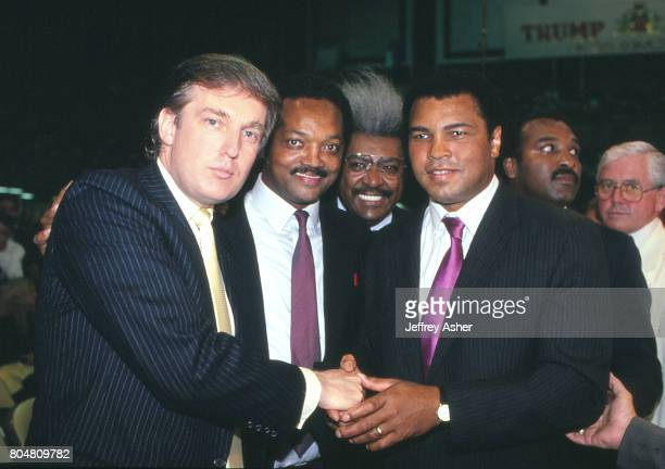 Businessman Donald Trump Jessie Jackson Don King and Muhammad Ali ringside at Tyson vs Holmes Convention Hall in Atlantic City New Jersey June 27 1988