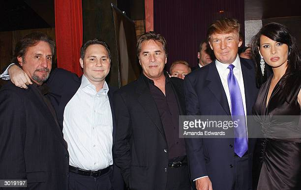 Businessman Donald Trump poses with actor Ron Silver publisher Jason Binn actor Don Johnson and model Melania Knauss at the party for 'The...