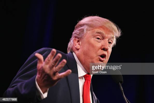 Businessman Donald Trump speaks to guests at the Iowa Freedom Summit on January 24 2015 in Des Moines Iowa The summit is hosting a group of potential...