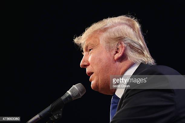 Businessman Donald Trump speaks to guests gathered for the Republican Party of Iowa's Lincoln Dinner at the Iowa Events Center on May 16 2015 in Des...
