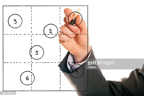 businessman drawing a generic 3x3 portfolio
