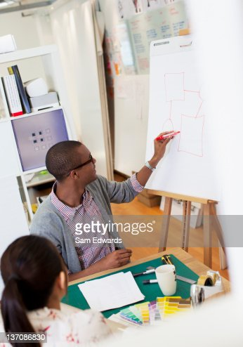 Businessman drawing diagram on flip chart in office : Stock Photo