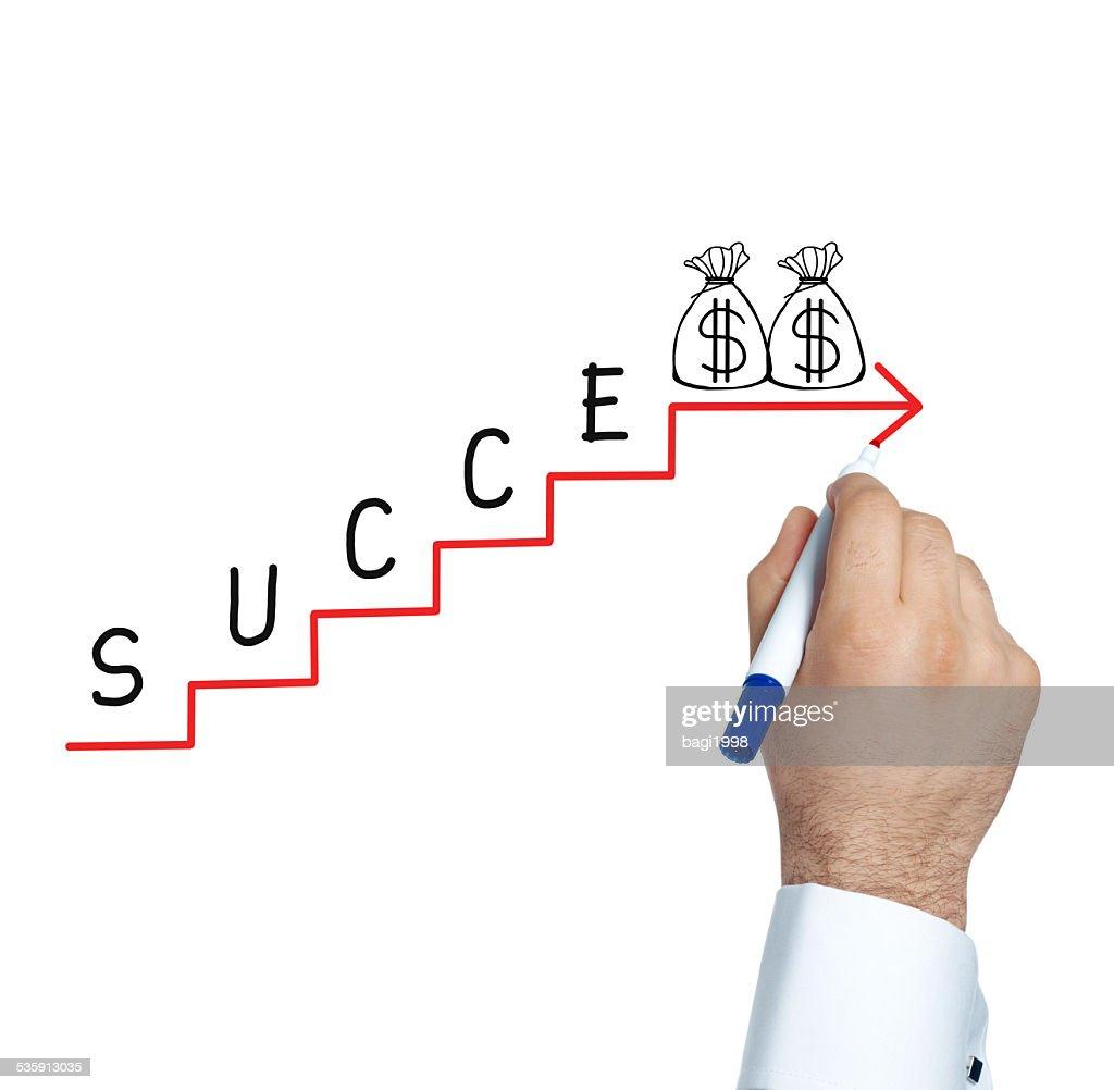 Businessman drawing success graph : Stock Photo