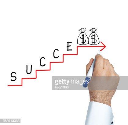 Homem de Negócios desenhar gráfico de sucesso : Foto de stock