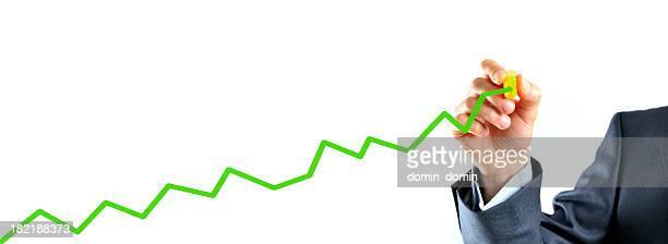 Businessman draws green chart