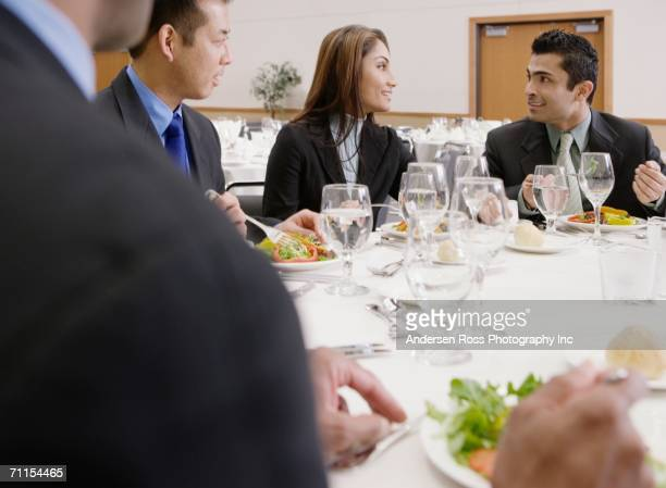 Businessman eating lunch