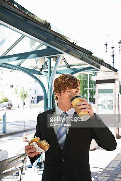 Businessman Eating on the Go