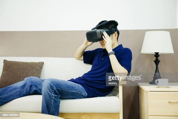 Businessman enjoy VR indoors