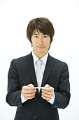 Businessman Exchanging Business Cards, Waist Up, Front View