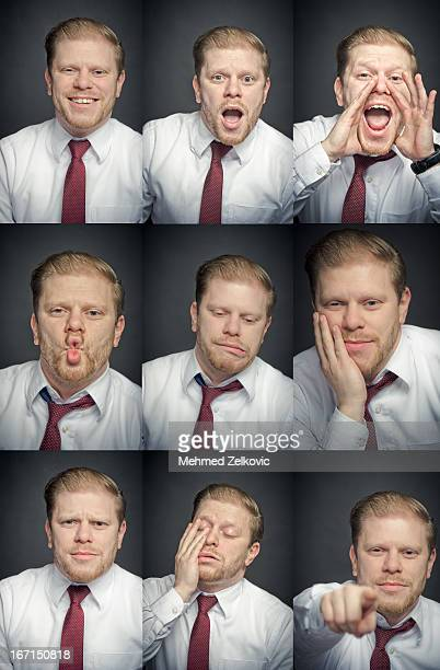 Businessman facial expression set composite