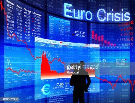 Geschäftsmann mit Euro-Krise : Stock-Foto