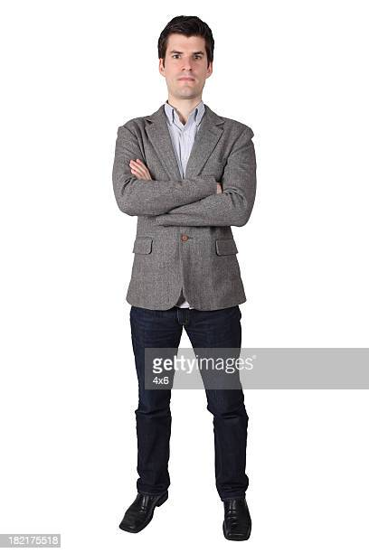 Businessman folding arms