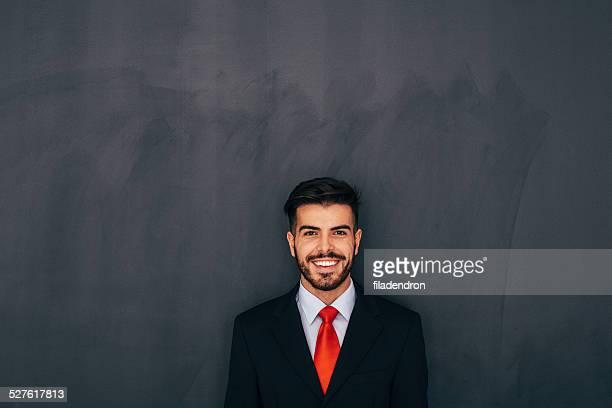 Businessman Front of Blackboard