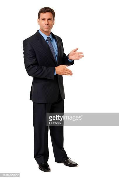 Gestes preuve Homme d'affaires isolé sur fond blanc