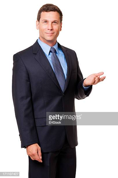 Businessman Gesturing Demonstrating Isolated on White Background