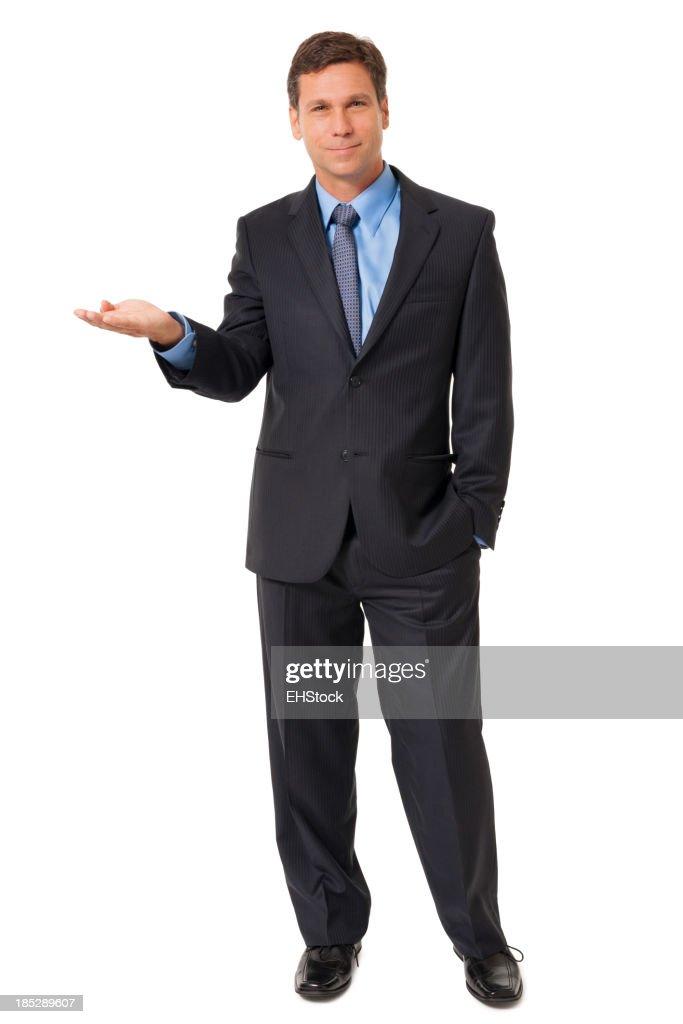 Businessman Gesturing Demonstrating on White