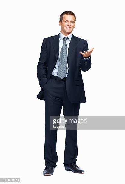 Empresário Gesticular sobre fundo branco