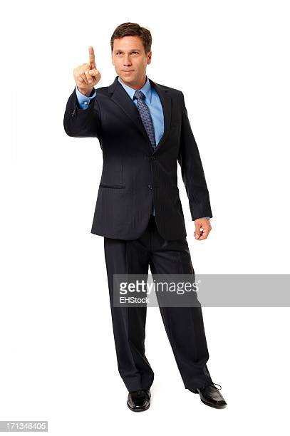 Businessman Gesturing Pointing Isolated on White Background