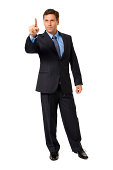 Businessman Gesturing Pointing on White
