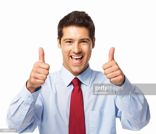 Businessman Gesturing Thumbs Up - Isolated