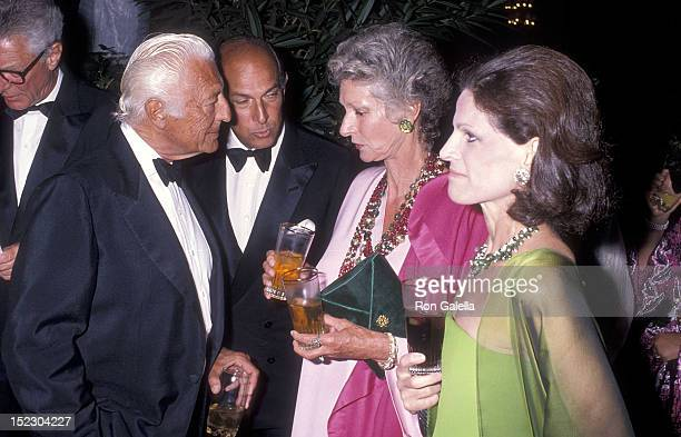 Businessman Gianni Agnelli and wife Marella Agnelli and fashion designer Oscar de la Renta and wife Annette Reed attend Malcolm Forbes' 70th Birthday...