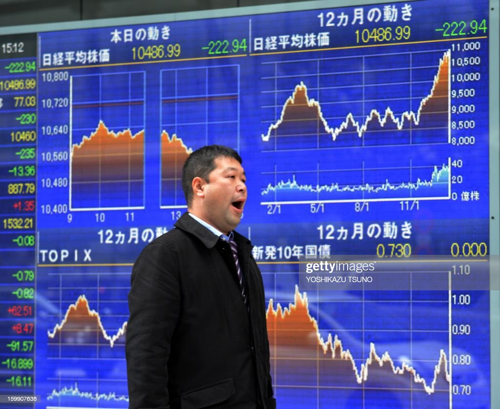 A businessman gives a yawn before a share prices board in Tokyo on January 23, 2013. Japan's share prices fell 222.94 points to close at the Tokyo Stock Exchange, extending losses from the previous day, as a lack of surprises in the the Bank of Japan's monetary policy announcement left dealers disappointed. AFP PHOTO / Yoshikazu TSUNO