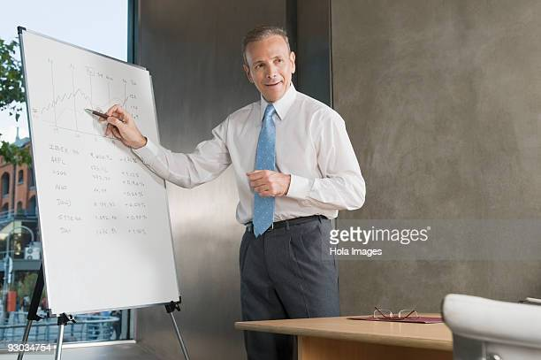 Businessman giving a presentation in a board room