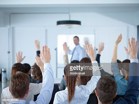 Businessman giving presentation at meeting