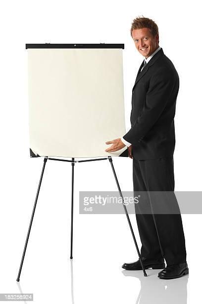 Homme d'affaires donnant présentation