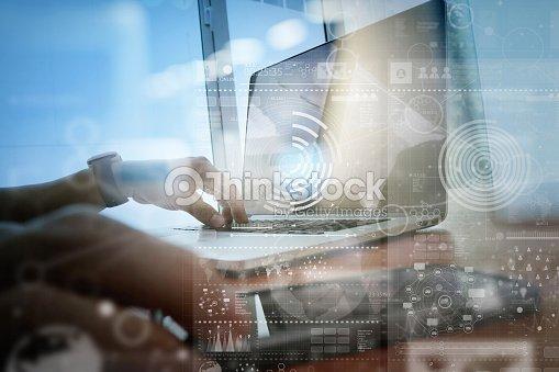 Businessman hand working with modern technology