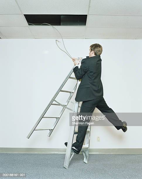 Businessman hanging on to ladder, wrestling with cable, rear view