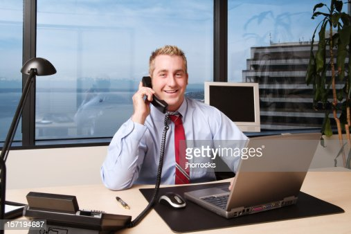 Businessman Happily Working