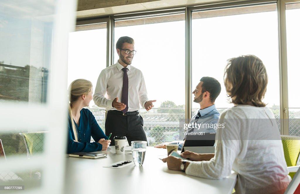 Businessman having a presentation in conference room