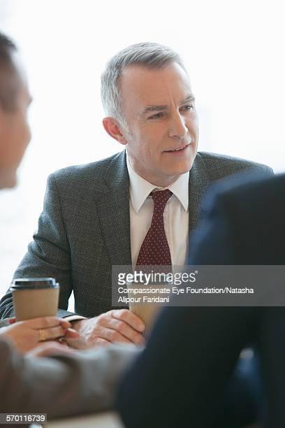 Businessman having meeting in cafe