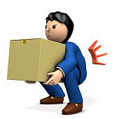 A businessman holding a cardboard box. He became a strained back. 3D illustration