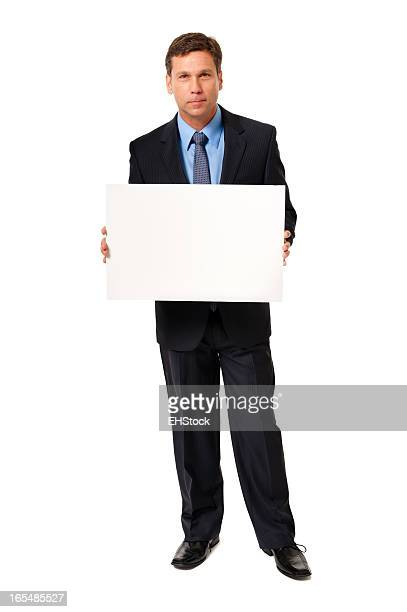 Businessman Holding Blank Sign Isolated on White Background