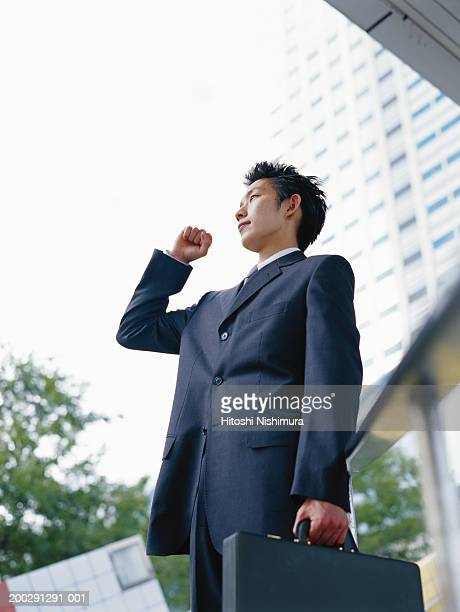 Businessman holding briefcase, low angle view
