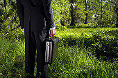 Businessman holding briefcase standing in long grass, rear view
