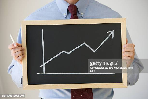 Businessman holding chalkboard with line graph, mid section